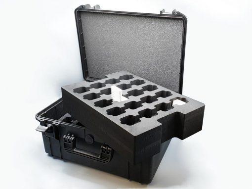 Mousse calage polyéthylène dans valise étanche